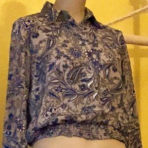 Vintage 70s half button down floral & paisley top